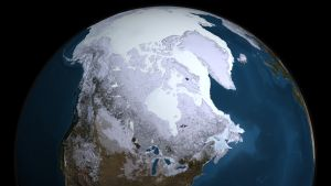 This data visualisation from the Aqua satellite show the maximum sea ice extent for 2008-09. / Credit:NASA Goddard's Scientific Visualization Studio